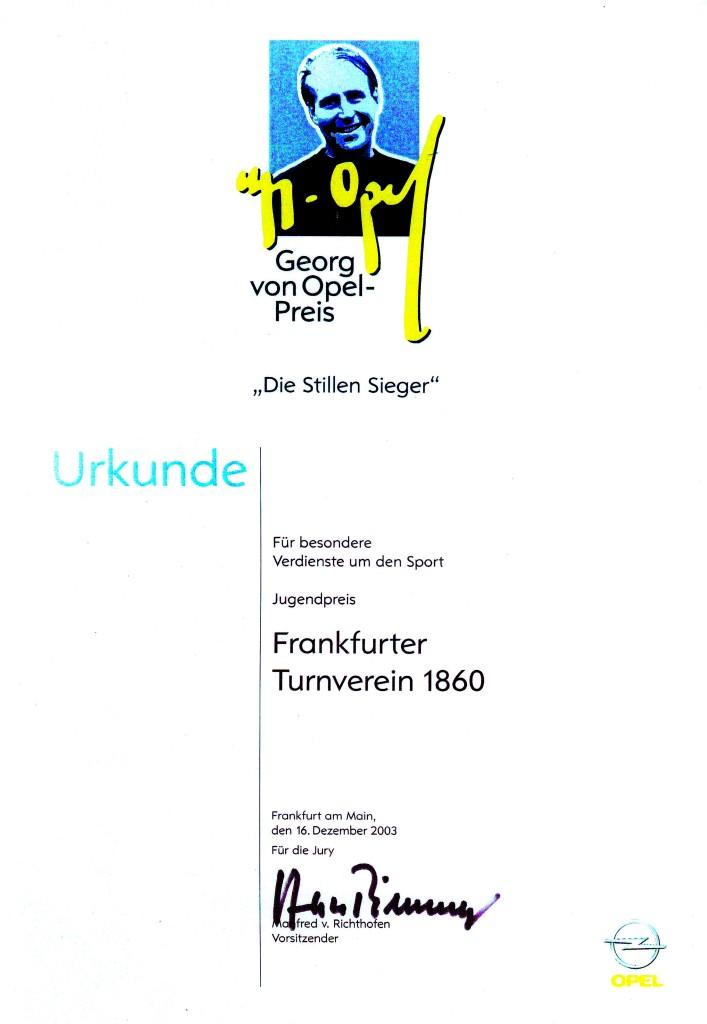 Urkunde Georg-von-Opel-Preis