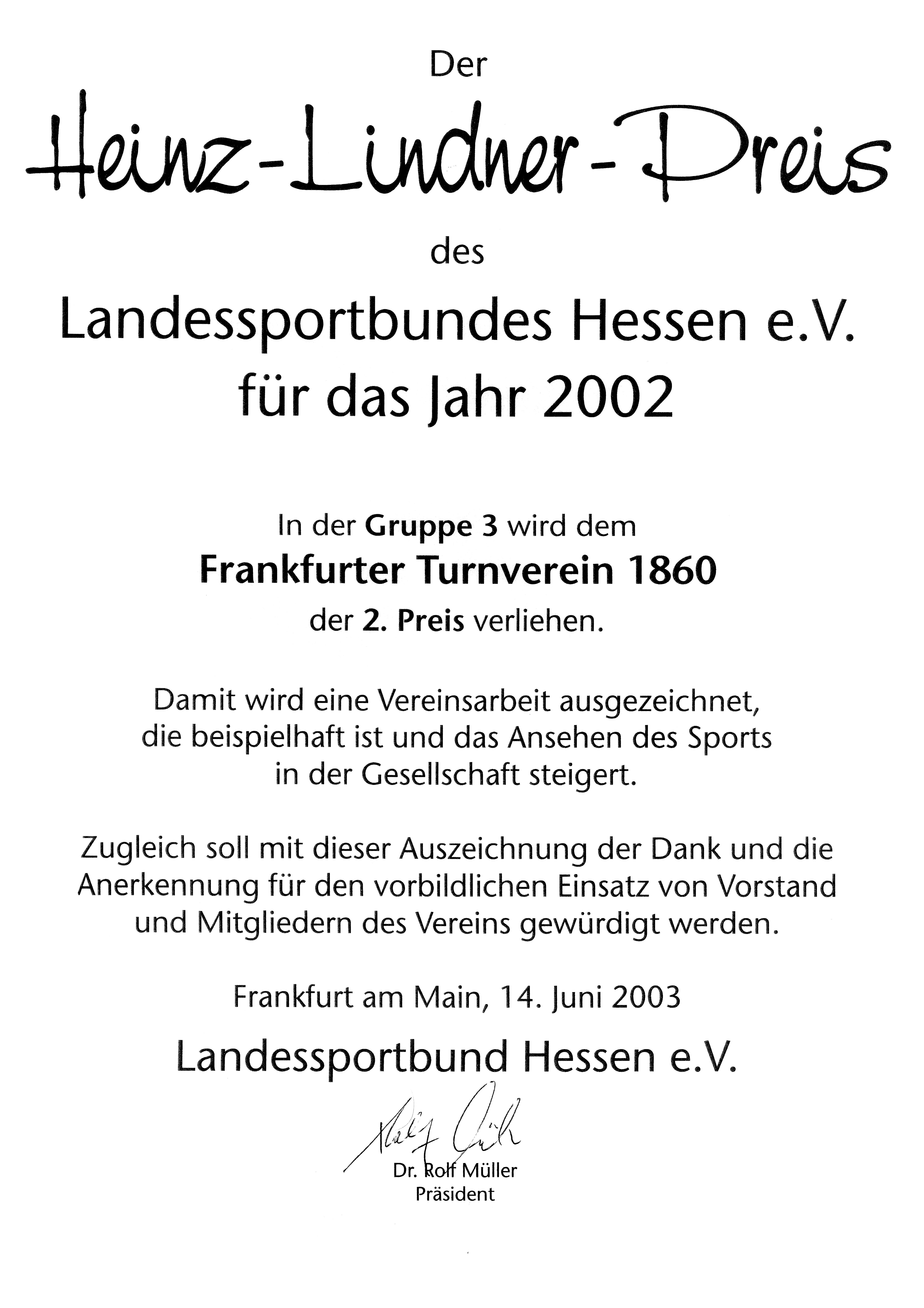 Urkunde Heinz-Lindner-Preis
