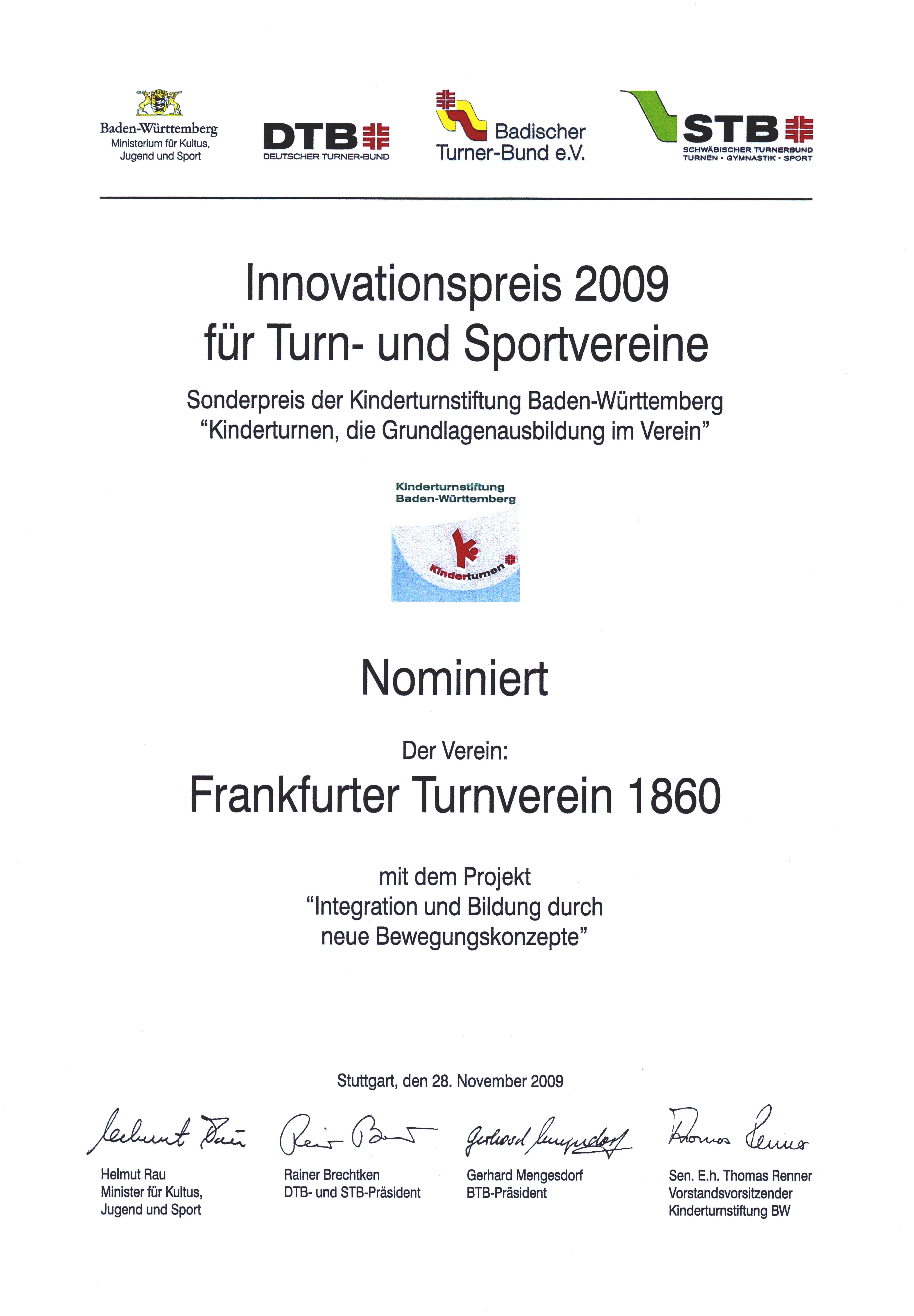 Urkunde Nominierung Innovationspreis