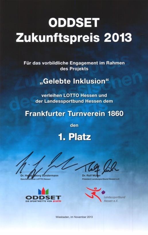 Urkunde Oddset Preis 2013